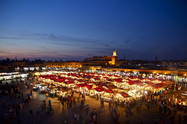 【モロッコ】マラケシュフナ広場の夜景・景色を一望できる穴場!場所と景色を公開